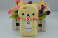 Wholesale Rilakkuma D cartoon teddy Soft silicone rubber Case skin cases For iphone G S th
