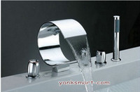 Wholesale Waterfall Bath Tub Sink Chrome Faucet With Hand Held Shower Set BB