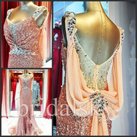 Wholesale 2015 summer dress Sheer Sweetheart Sequin Ruched Rhinestone Beaded Ribbon Mermaid Sweep Train Prom Dresses Evening Gowns I