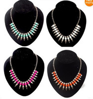 Women's acrylic crystal gems - Spike Rivet Choker Bib Necklace pc New Christmas Gift Crystal Square Resin Stone Gem