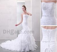 Portrait 2012 - 2012 Cheap Sexy New Strapless Sweetheart Pleats Beaded Summer Lace Mermaid Wedding Dresses PR03037