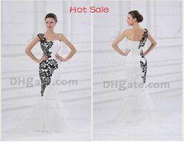 Wholesale Celebrity Dresses Sexy Cheap One Shoulder Black Embroidery Tulles Mermaid Prom Dress DH00321