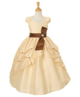 ribbon bow and flowers - Perfect champagne short sleeve A line taffeta with bow and ribbon flower gril dress RR022