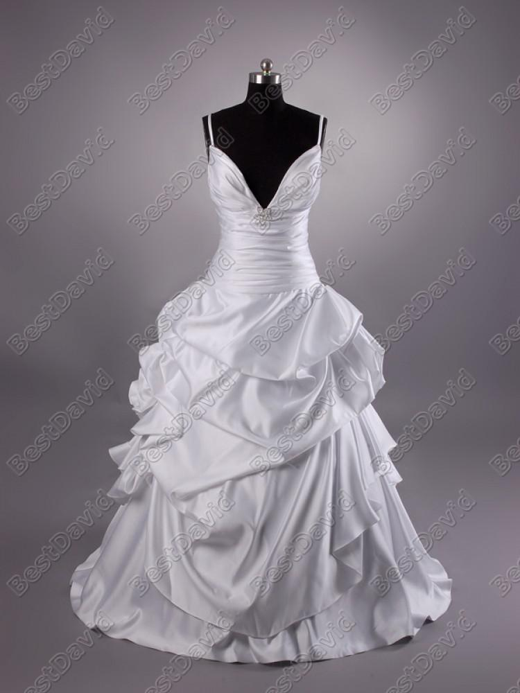 Cheap Spaghetti Strap Ball Gown Wedding Dresses Satin Pick Up Beads Ruched Sleeveless Brush