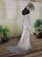 Cheap Model Pictures Wedding Dress Best Strapless Elastic Satin Evening Dress