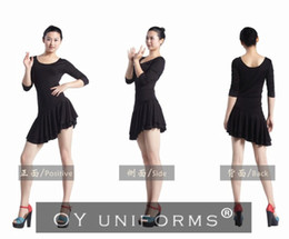 Wholesale Women Skinny Black One Piece Latin Dance Dress