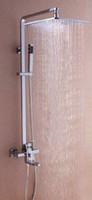 Chrome bathroom shower - 8 quot Big LED Square Shower Head Bathroom Rainfall Shower Faucet Set DH