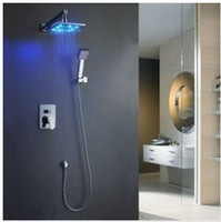 Wholesale 8 quot LED Rainfall Shower head Arm Control Valve Handspray Shower Faucet Set MMD