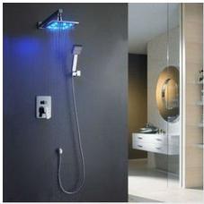Wholesale 8 quot LED Rainfall Shower head Arm Control Valve Handspray Shower Faucet Set MMD