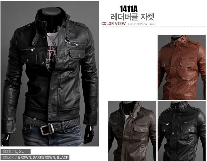Fashion Men Outerwear Coats Mens Designer Jacket autumn and winter standing collar Mens motorcycle Leather jackets men leather jacket Coat