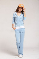 Wholesale Hot sale now Hot fashion Sweat Suit Women s Tracksuits Water Blue Velour Cotton New Sale