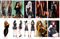 Wholesale 3pcs set New Black Sexy Teddy Wetlook Faux Leather Costume Erotic Clubwear Fetish Punk Gothic Dress