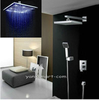 Wholesale 8 quot LED Rainfall Shower head Arm Hand Spray Valve Shower Faucet Set MMD