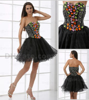 prom dresses 2012 - 2012 New Sexy Little Black Cocktail Dresses Crystals Beaded Mini Short Prom Dresses DH00332