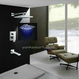 Wholesale 8 quot LED Rainfall Shower head Arm Wall Spout Valve Shower Faucet Set MMD
