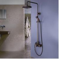 antique brass finish bathroom faucets - Antique Brass Finish Bathroom Rainfall With Spray Shower Faucet Set MMD
