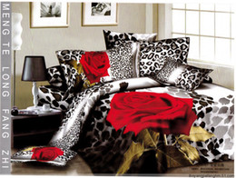 Wholesale Hot Sale red rose flower leopard print bedding sets egyptian cotton full queen king duvet cover flat sheet comforter set pc textile