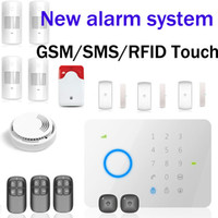Wholesale Chuango G5 MHZ GSM SMS Quad band RFID Touch Alarm System G5 Set Zones Touch Keypad GSM Phone SMS Wireless Home Securit