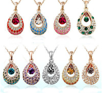 Wholesale Austria swarovski crystal elements of the crystal angel tear drops necklace alloy panel