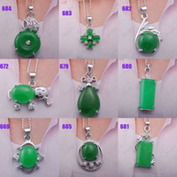 Alloy Chirstmas Other Wholesale-30pcs imperial green jade stone pendant chain 18KGP necklace heart elephant oblong