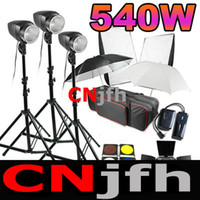 Wholesale 540w Studio Flash Lighting Set x w Professional Strobe Photo Light Kit Softbox