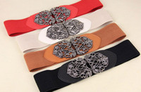 Wholesale Fashion Women s Buckle Elastic Waistband Stretch Hallow Waist Belt girdle carving Lady Belt