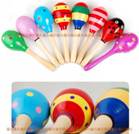 Wholesale big size sand hammer cartoon solid wood sand hammer wooden ring toy educational preschool toys