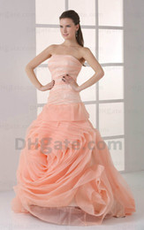Wholesale Fantanstic Ball Gown Ruffle Organza formal gown Strapless Floor Length Quinceanera Dress n305