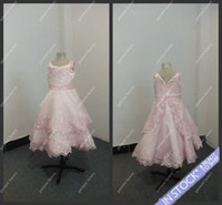 Wholesale Girls Pageant Dress Lovely Baby Pink Lace Appliqued Ball Gown for Childrens Flower Gilrs Dress