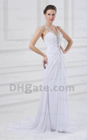 Wholesale Newest Fabulous wedding dresses A line white beaded chiffon halter v neck bridal wedding Gown n307