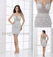 Wholesale 2012 Haifa Style Celebrity Dresses Nude Sleeveless Sheer Prom Dress Covered Jewels V neck
