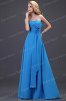 Wholesale Grace Karin New Elegant Strapless Chiffon Flower Full Length Party Evening Gowns Bridesmaid Sheath Dress CL3420