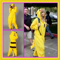 al por mayor pijama de terciopelo-Lovely En Stock barato de envío gratis cosplay Sekiya Pikachu traje de terciopelo amarillo pijamas vestidos