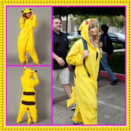 Wholesale Lovely In Stock Cheap New Cosplay Sekiya Pikachu Costume Velvet Yellow Pajamas Dresses