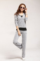Women Long Sleeve Regular Want to Buy Hot fashion women's Sweat-Suit,Femail's Tracksuits in Flower Grey,Velvet for sale