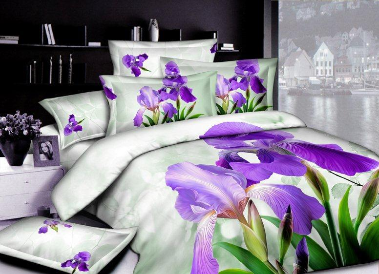 Purple Flower Green Leaves Cheaper Bedding Set Quilt Duvet Covers Sets