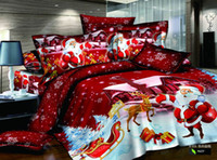 Wholesale Christmas Santa Clause red cotton bedding sets gifts duvet cover flat sheet pillow shams comforter bedclothes pc bed sets queen king