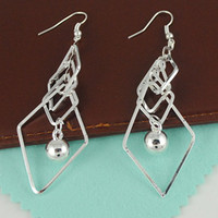 Wholesale Fashion Jewelry Silver Tone Multi layer Rhombus Simulated Pearl Drop Earrings pairs E077