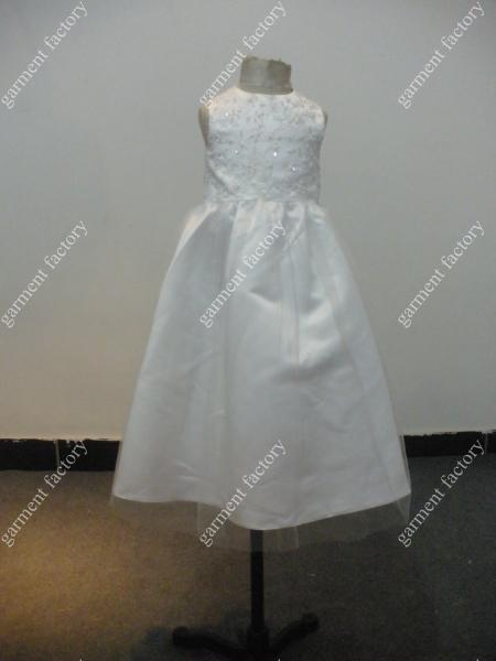 Kids Fancy Dress Jewel Lace Corset White Princess Dress for Children White Flower Girls Dress