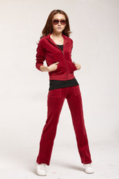 Wholesale Onsale Korean Style Fashion Sweat Suit for Femail Women s Tracksuit in wine red Velvet emboitement