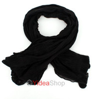 Wholesale 6pcs Ladies Girls Pure Color Black Long Crinkle Chiffon Soft Wrap Scarf Shawl Stole