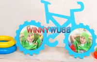 boy and girl Wood  Wooden Color Painted Children's Bicycle Photo Frame Picture Frame Room Decor Wood Photo Frame 10pcs