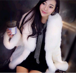 Wholesale New Korea Fashion fox fur collar Rabbit hair Lady Warm Coat Jacket fur coat Fluffy Outwear
