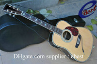 Wholesale Natural acoustic Dreadnought guitar Solid spruce Top with fishman Microphone Pickups