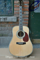 Wholesale D45 acoustic Dreadnought guitar natural Solid spruce Top back Rosewood Real Abalone Binding Body