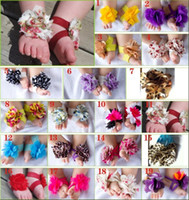 Wholesale New Pairs Toddler Baby Barefoot Flower Socks Sandals Shoes Infant Children Rose Foot Ornaments
