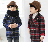 Christmas Girl 4-8 year old  Toddler Boys Plaid coat,Children Autumn Winter outfit Red Blue Color outerwear Kids Cool overcoat