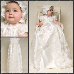 Wholesale Vintage Christening Gown Jewel Neckline Short Sleeve Taffeta Lace First Communion Dress Baptism Robe