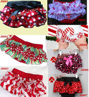 Wholesale Baby Petti Lace Ruffle Bloomer Christmas Ruffled Lace Pants Bloomers Diaper Covers Skirt sz