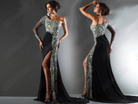 Wholesale 2013 New Style Fashion Charming One Shoulder Floor Length Black Evening Dresses c45